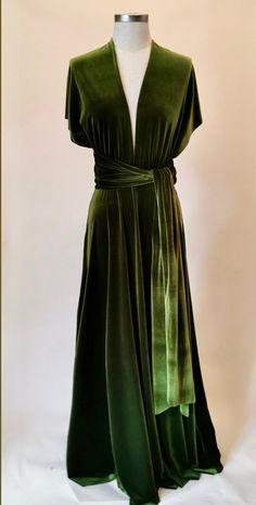 Olive green velvet dress, infinity dress, bridesmaid dress, prom dress, ball gown, long dress, multiway dress, convertible dress, party dres