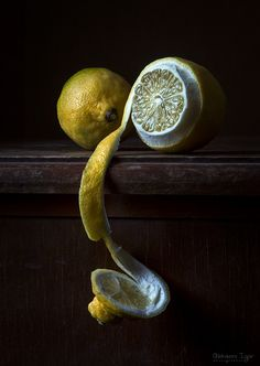 lemons and peeling.a photography still life. Dark Food Photography, Still Life Photography, Vegetables Photography, Chiaroscuro, Fruit Art, Fruit And Veg, Mellow Yellow, Light Painting, Food Design