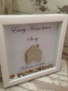Wall art ~ Every home tells a story, welcome to ours ~ shadow box frame ~ home decoration ~ love hearts ~ upcycled book pages by FunkyDesignsbyDi on Etsy
