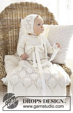 My Fairy -  Dress for Christening or special occasions worked top down with raglan and lace pattern in DROPS Cotton Merino. Knitted hat with lace pattern in DROPS Cotton Merino. Sizes 0 - 2 years.  Free knitted pattern DROPS Baby 29-1