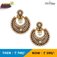 Rich polki and pearl bridal festival india ethnic adiva copper earring.Shop Now- http://bit.ly/1Ngfnfc