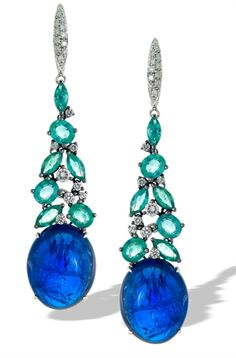 Cabochon Tanzanite and Emerald Drop Earrings by Sofragem - Oval cabochon tanzanite of 52.17 cts. t.w. dangles at the ends of these 18k white gold earrings, with a tiered setting of 4.85 cts. t.w. emeralds in marquise and oval shapes, and 0.77 cts. t.w. diamond accents. MSRP: $18,900