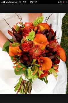 Bridal Bouquet~love the colors, great for fall, and I love the flowers!