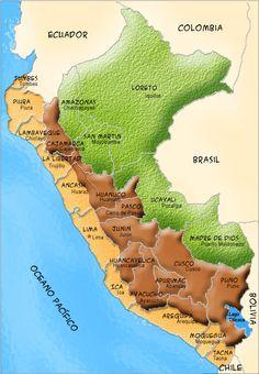 Mapas del Perú: turismo: Mapa regiones del Perú