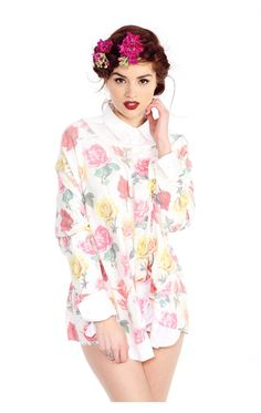 Wildfox Bright Roses Effortless Thermal Tee