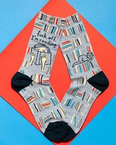 """These hilarious book socks say what you have wanted to say so many times: """"Fuck off, I'm reading. Reading Socks, Book Socks, Word Up, Novelty Socks, Crew Socks, Book Lovers, Introvert, My Style, Book Quotes"""