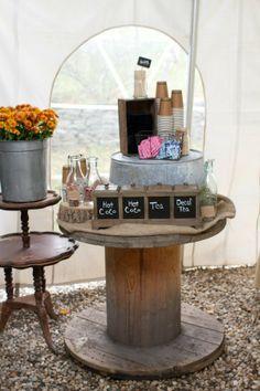 spool drink table Tent Wedding, Wedding Table, Rustic Wedding, Our Wedding, Fall Wedding, Dream Wedding, Wooden Spool Tables, Wood Spool, Drink Table