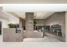 Aesop store interior in Sapporo, Japan, designed to mimic the surrounding landscape of snow-topped mountains