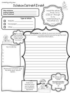 Current Events Worksheet  Education    Current Events