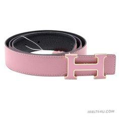 Stylish Hermes Pink Leather H Spark Buckle Belt