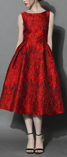 deep red jacquard midi dress