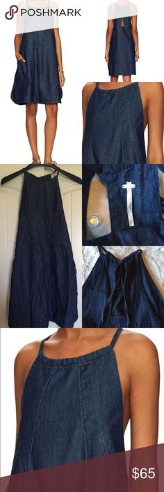 """Free People Denim Dress Like NEW! In perfect condition. free people.  Contrast seaming throughout Halter neck Side slip pockets Racerback Cut-out back Side split hem Top stitching and panel seaming Adjustable drawstring closure at back collar Measurements: * 40"""" in circumference at bust; 40"""" from shoulder to hem; taken from a size S * Model's height is 5 feet 9 inches  Material: 100% cotton Free People Dresses"""