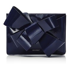 DELPOZO M'O Exclusive Bow Leather Clutch ($850) ❤ liked on Polyvore featuring bags, handbags, clutches, navy, navy leather purse, over the shoulder purse, leather clutches, navy leather handbag and blue handbags
