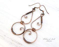 Long Copper Wire wrapped earrings Solid copper earrings