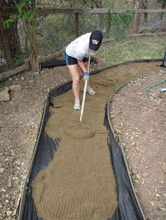 Creating a Decomposed Granite Path.  So much cheaper than concrete. ~C