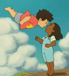 Awww! This is a remake of a scene  for Ponyo. This is so cute!!