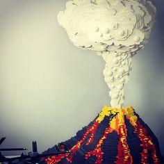 Lego volcano erupting.