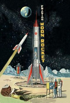 Friction Moon Rocket 12x18 Giclee on canvas