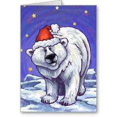 Festive Polar Bear Christmas Greeting Cards created by Animal Parade are a great way to send out your joyous holiday greetings. Share a smile with our cute polar bear who is full of Christmas spirit with a Santa hat on his head and a holly wreath on his behind.