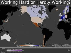 MAP: Here Are The Countries That Work Hard And The Ones Where They like To Relax -- The more red or orange a country is, the harder it works. The more blue a country is, the more workers like to chill.