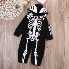 >> Click to Buy << Newborn Kids Baby Girl Boy Rompers Skull Hooded  Jumpsuit Outfits 0-24M #Affiliate