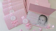 """Convites com foto no interior Conjunto de Batizado """" Estrelinhas"""" para a Alice. Diy Crafts Hacks, Diy And Crafts, Onesie Pattern, Explosion Box, Baby Cards, Birthday Decorations, Dream Wedding, Alice, Gift Wrapping"""