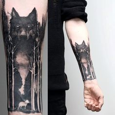 Watercolor Forest With Wolf Mens Negative Space Tattoos