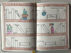 I love this layout for my reading tracker. All you have to do after setting it up is color the books in as you go!