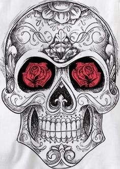 Skull sugar rose eyes