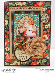 "Amazing ""C is for Cat"" Raining Cats and Dogs Card by Lori #graphic45"