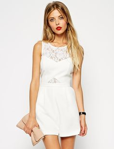 White Sleeveless Contrast Lace Jumpsuit 25.99
