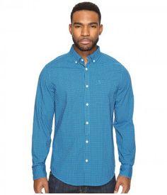 Original Penguin - Long Sleeve Core Gingham Woven (Diva Blue) Men's Clothing
