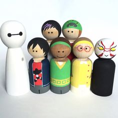 Big Hero Six Inspired Peg Dolls  Wood Toys  Hiro by ThePaintedPeg