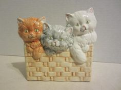 Vintage Three Kittens in a Basket Ceramic by littlewoodenhouse
