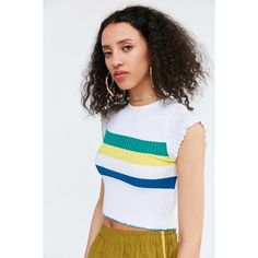 BDG Rainbow Cropped Sweater Tee ($34) ❤ liked on Polyvore featuring tops, t-shirts, crewneck tee, crop top, crew t shirts, crew neck t shirt and short sleeve crop top