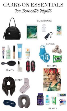 Too Polished Carry-On Essentials for Domestic Flights, Travel Packing, Carry On Bag Essentials, Airplane Essentials, Travel Packing Checklist, Travel Essentials For Women, Road Trip Packing, Packing Tips For Vacation, Road Trip Essentials, Travelling Tips, Vacation Travel