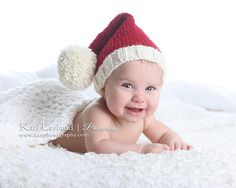 BABY Knit Santa Elf Hat, Christmas Infant Toddler Cap Prop, Rich Red Winter White, 6-12 months, 12-18 months, Munchkin Pixie Stocking. $27.99, via Etsy.