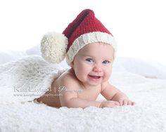 BABY Knit Santa Elf Hat, Christmas Newborn Infant Toddler Cap Prop, Rich Red Winter White, NB, 0-3 mo, 3-6 mo, Munchkin Pixie Stocking