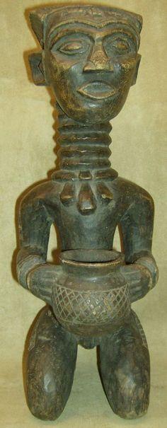 DENGESE BOWL BEARER OFFERING Wood Figure DRC African Art Collectibles