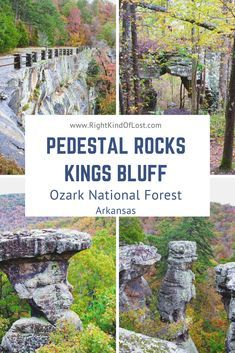 The Pedestal Rocks Kings Bluff loop is a figure-eight loop made up of two trails. It showcases the unique rock formations of the Ozark National Forest. West Texas, Arkansas Vacations, Arkansas Camping, Colorado Hiking, Family Vacations, New Mexico, Wyoming, Arkansas Waterfalls, Places To Travel