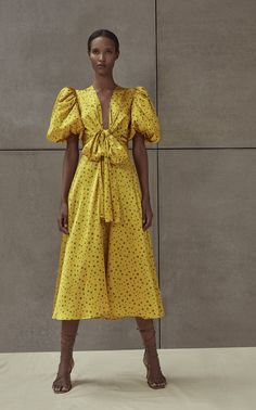 Silvia Tcherassi Lirio Polka-Dot Silk-Satin Midi Dress