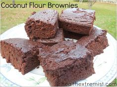 These paleo brownies are made with coconut flour and raw cacao powder. They are so yummy and melt in your mouth. These paleo brownies taste just like regular brownies