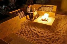 I love the sand under a fire pit idea. But i would love to put it in the middle of a beach pool