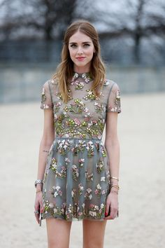 Floral embroided dress
