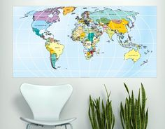 8 best wall world maps decals images on pinterest world maps printed rectangular world map in vinyl decal for home wall decoration apply this sticker in gumiabroncs Images