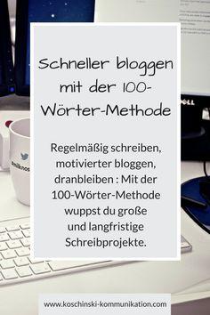 Wie schaffst du es, regelmäßig zu #schreiben und zu #bloggen, wenn doch immer das Tagesgeschäft und der Alltag dazwischenkommen? Mit der 100-Wörter-Methode schafft es jeder, regelmäßig zu schreiben.
