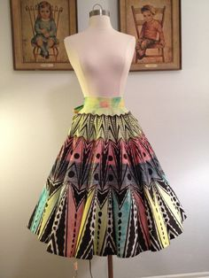 COLORFUL 1950s Hand Painted Mexican Circle Skirt by AwwwShucks, $130.00
