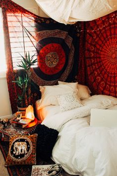 Root Chakra Bedroom❤️ Design by @kaitlynjohnsondesign ☽ ✩ Bohemian Boho Bungalow Red Chakra Bedroom || Save 25% off all orders with code PINTERESTXO at checkout | Shop Now LadyScorpio101.com