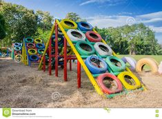 Photo about Playground built with old tires for children plays. Recycling old tires. Image of built, leaf, beautiful - 82205874