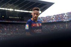 Barcelona's Brazilian forward Neymar looks on during the Spanish league football match FC Barcelona vs RCD Espanyol at the Camp Nou stadium in Barcelona on May 8, 2016.